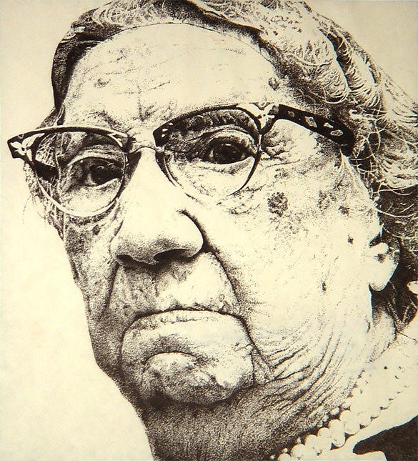 old women portrait of pointillism art