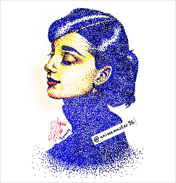 audrey hepburn pointillism art for you