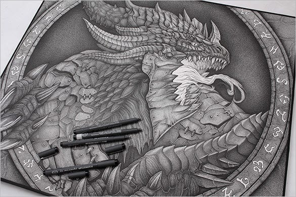 dragon pointillism art for free
