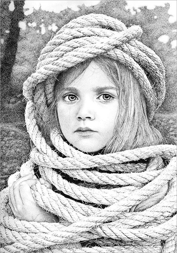 girl with restraints pointillism art