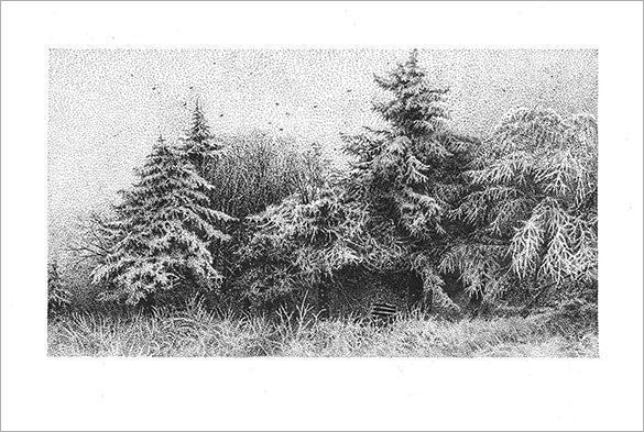 winter landscape pointillism art for you