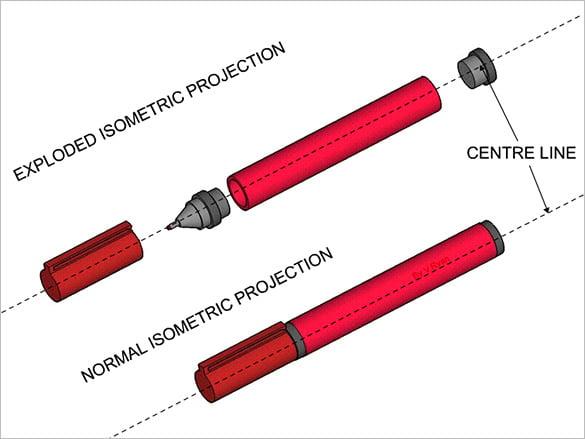 marker isomatric drawing design