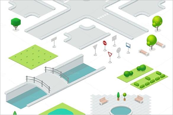 isometric city elements design