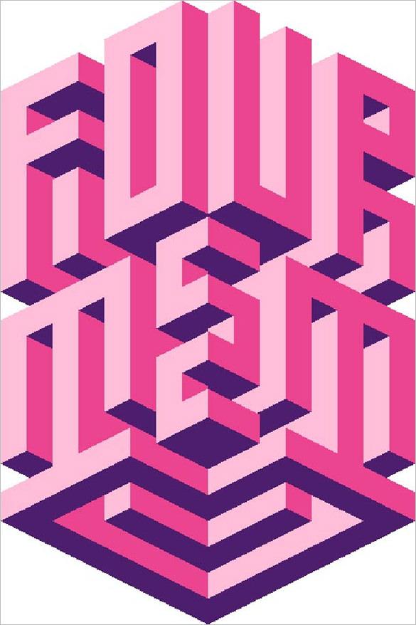 isometric typography design