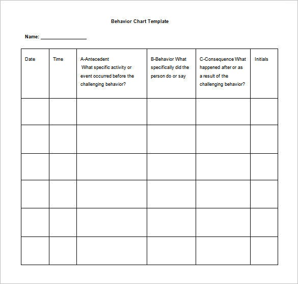 Behavior Chart Template   Free Sample Example Format