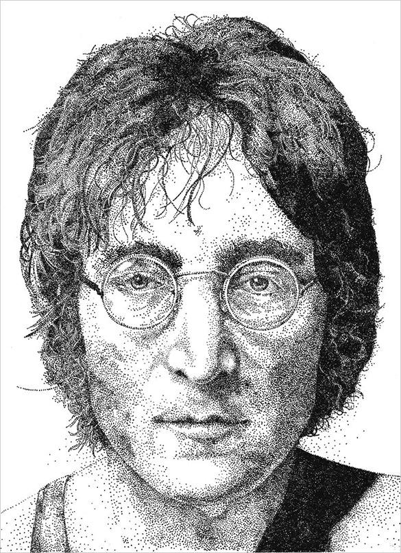 john lennon pointillism art