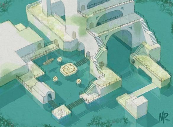 coastal villa isometric design