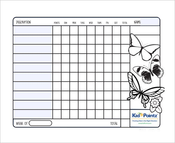 Behavior Chart Template   Free Word Excel Pdf Format Download