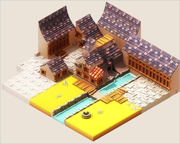 isometric town design