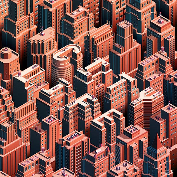 city life isometric cityscape design