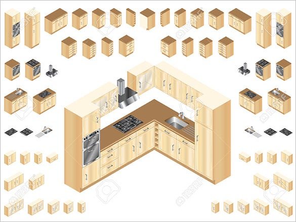 isomatric wooden kitchen design elements