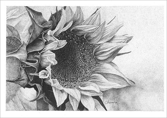 pointillism art of sunflower for you