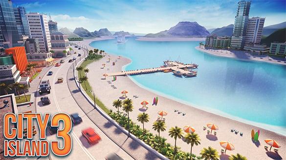 isometric game graphics city island