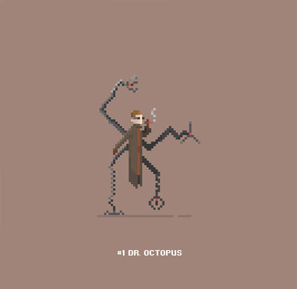 dr octopus pixel art template