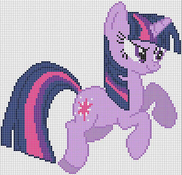 twilight sparkle pixel art template