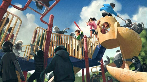 zombie playground digital art