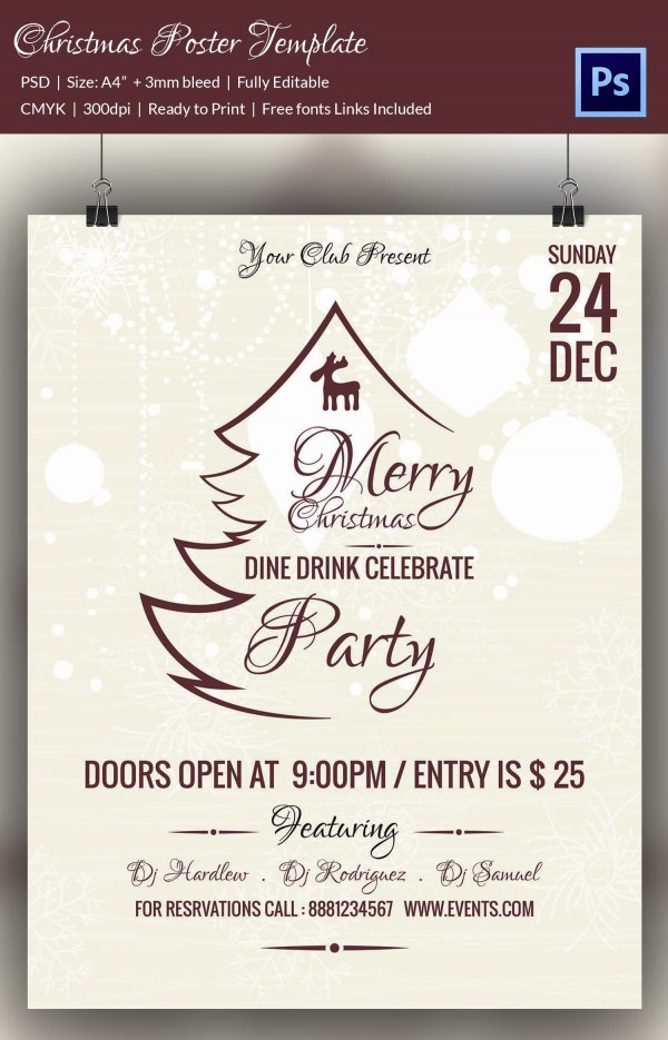 Merry Christmas Poster Flyer Template PSD Design Download