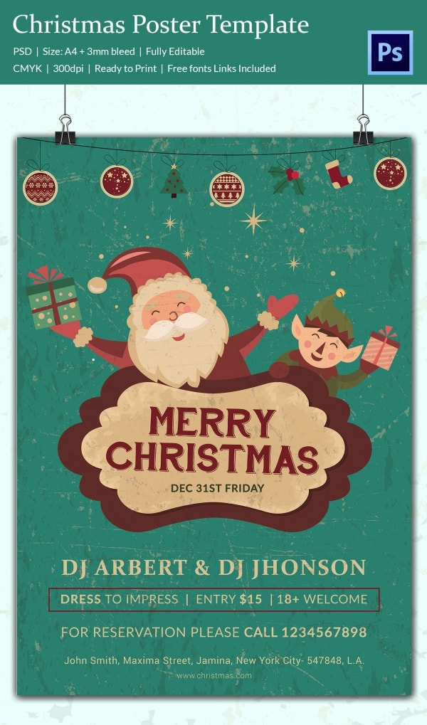 22 Christmas Posters PSD Format Download – Christmas Poster Template