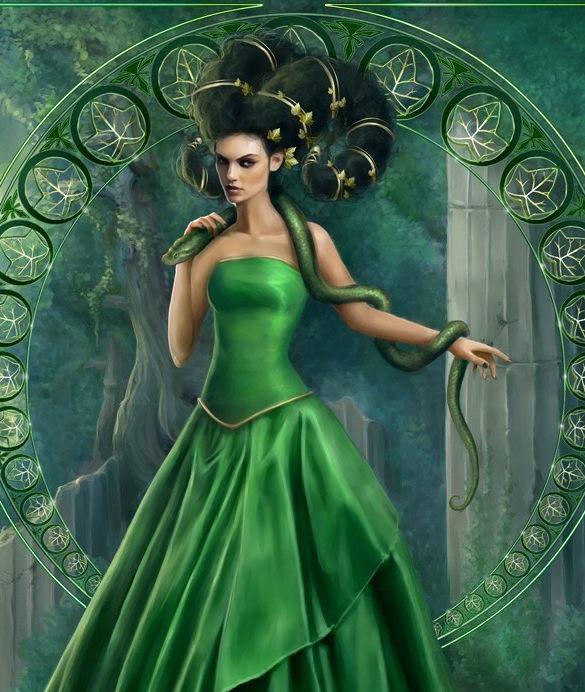 green cute lady digital painting