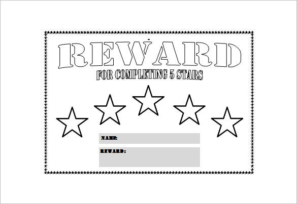 Five Star Reward Chart Free PDF Template