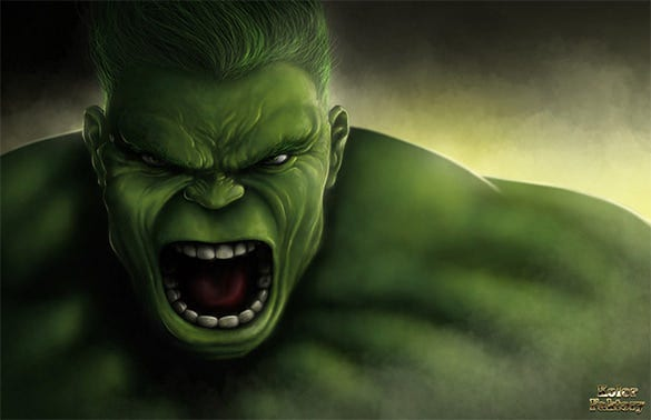 the incredible hulk digital painting