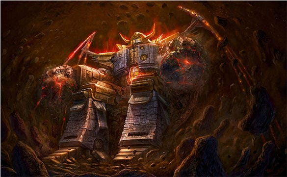 making of unicron digital painting