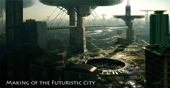 the futuristic city digital painting