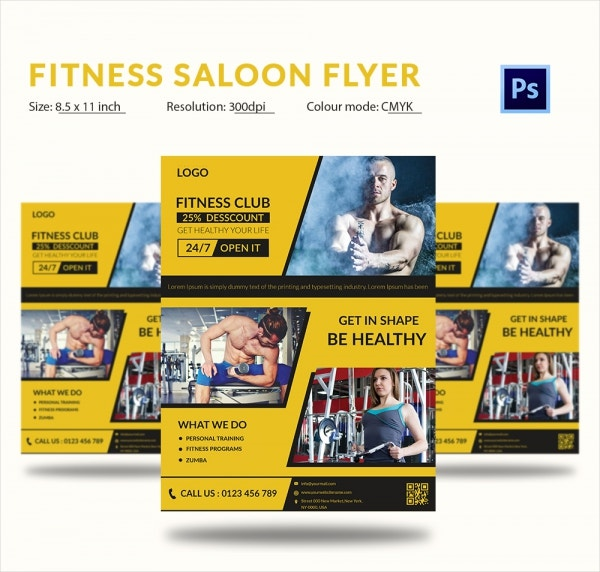Fitness Salon Flyer Template PSD Format