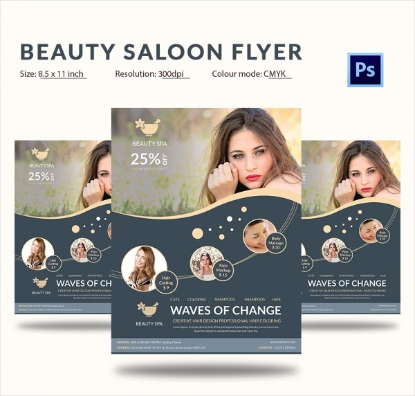 Flat Style Beauty Salons Advertising PSD Flyer
