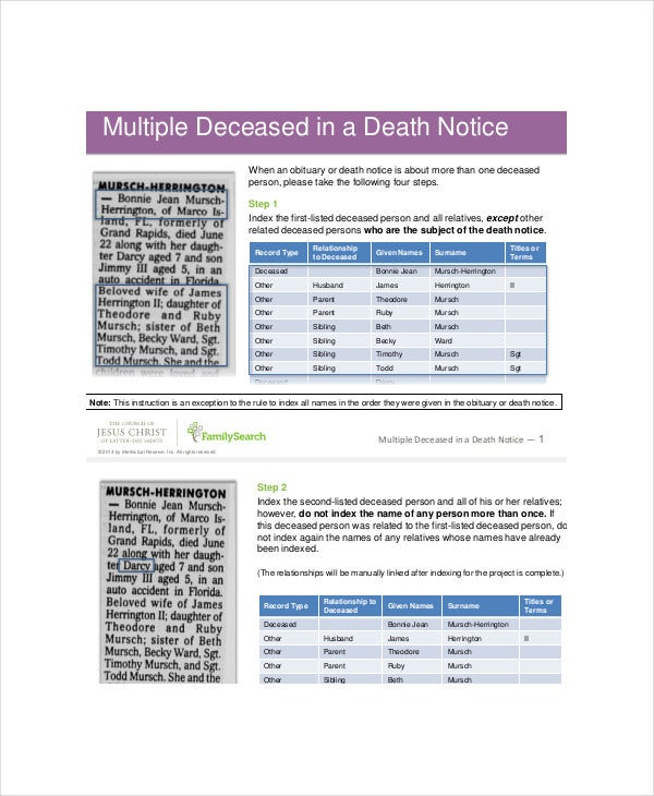 Multiple Deceased Death Notice