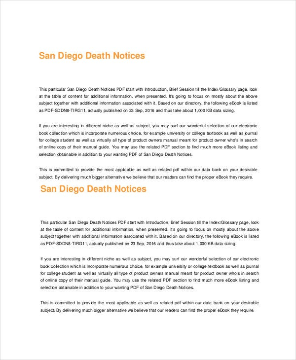 San Diego Death Notice Template