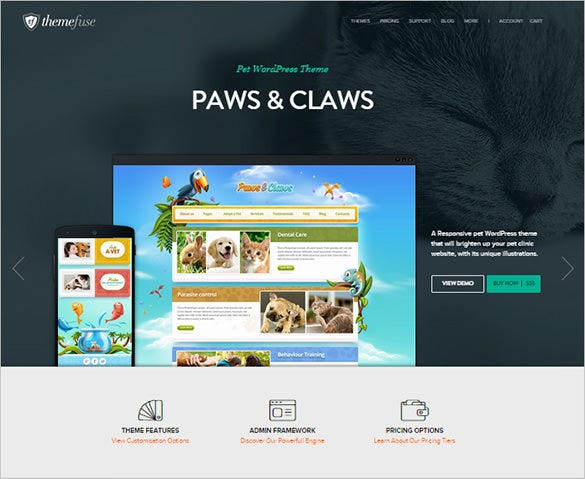 wordpress portfolio theme for pet clinic