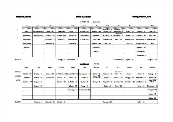 Football Depth Chart Template 10 Free Word Excel Pdf Format