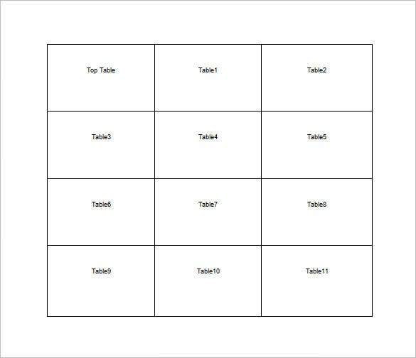 square table seating chart for reception free word template