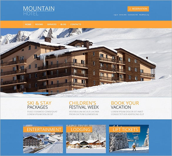 stunning mountain hotel wordpress theme