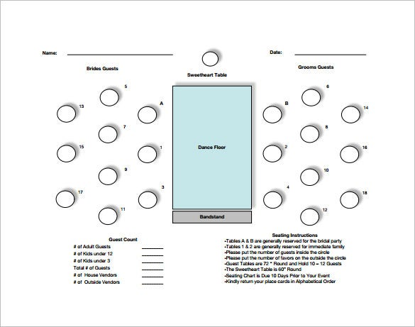 Table Seating Chart Template   Free Word Excel Pdf Format