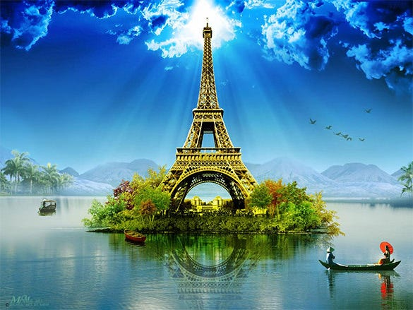 eiffel tower digital art photography
