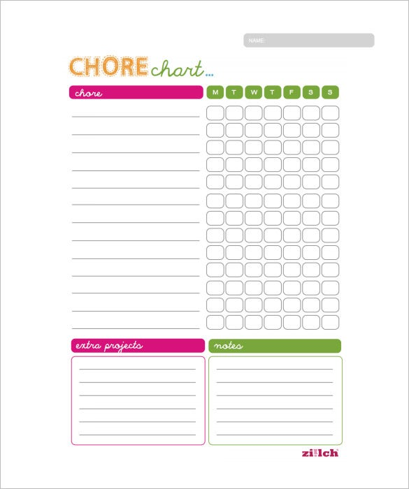 weekly chore chart for family example template