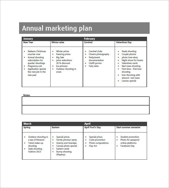 annual marketing plan sample