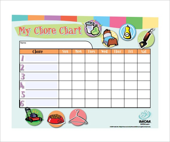 Sample Weekly Chore Chart Template  Free Sample Example