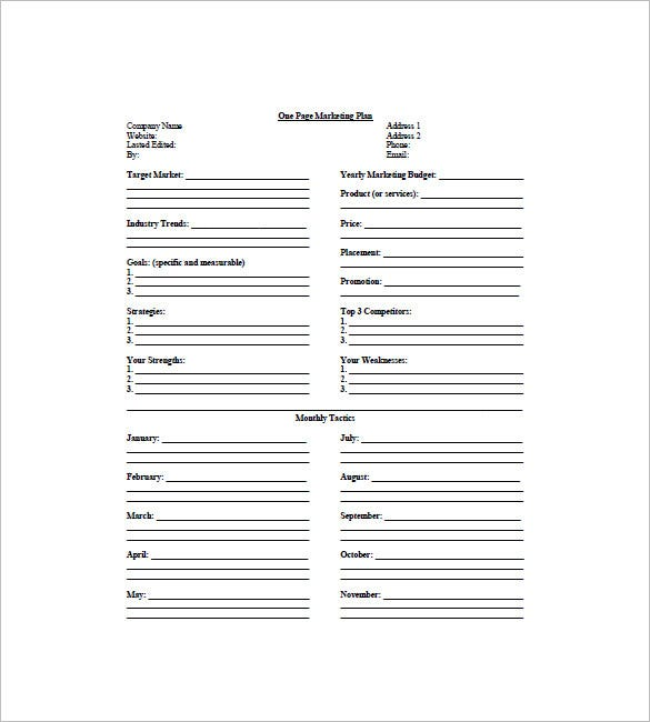 One Page Marketing Plan Template   Free Sample Example Format