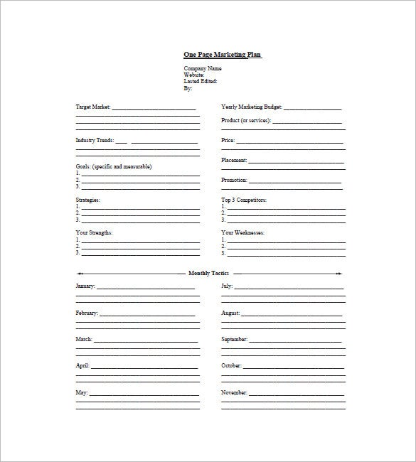 one page marketing plan sample