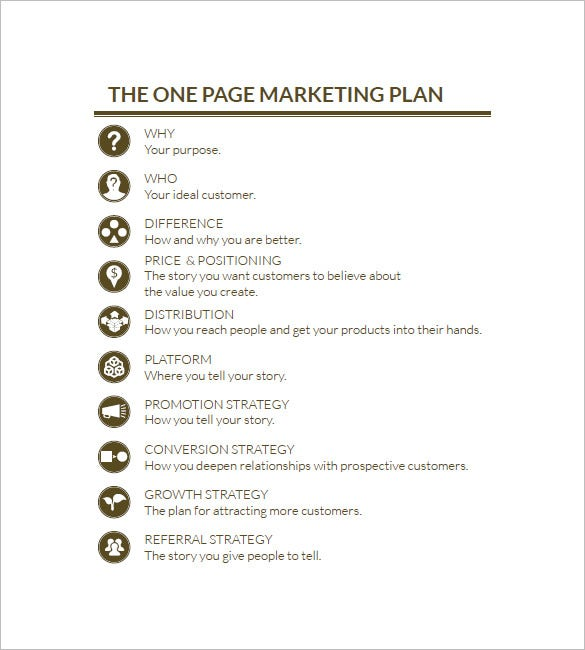 simple one page marketing plan