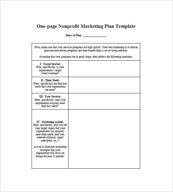 One Page Marketing Plan Template   Free Sample Example