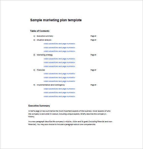 examples of one page marketing plan