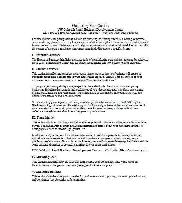 one page business plan template word