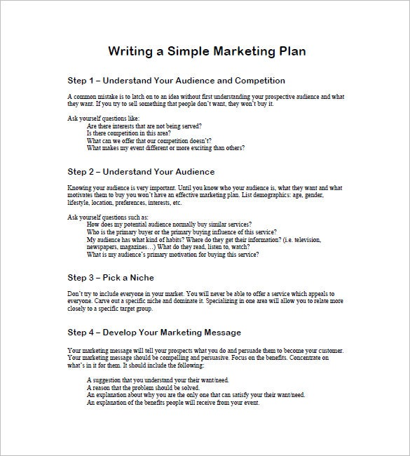 how to write a one page marketing plan