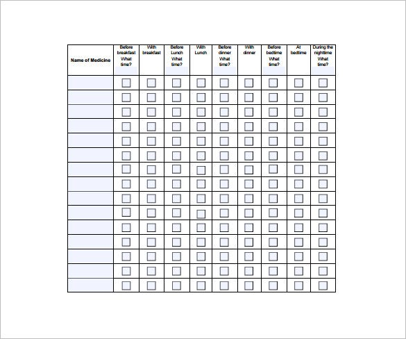 Medication Chart Template   Free Word Excel Pdf Format