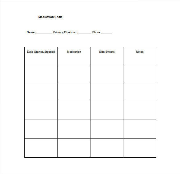 Medication Chart Template – 11+ Free Sample, Example, Format