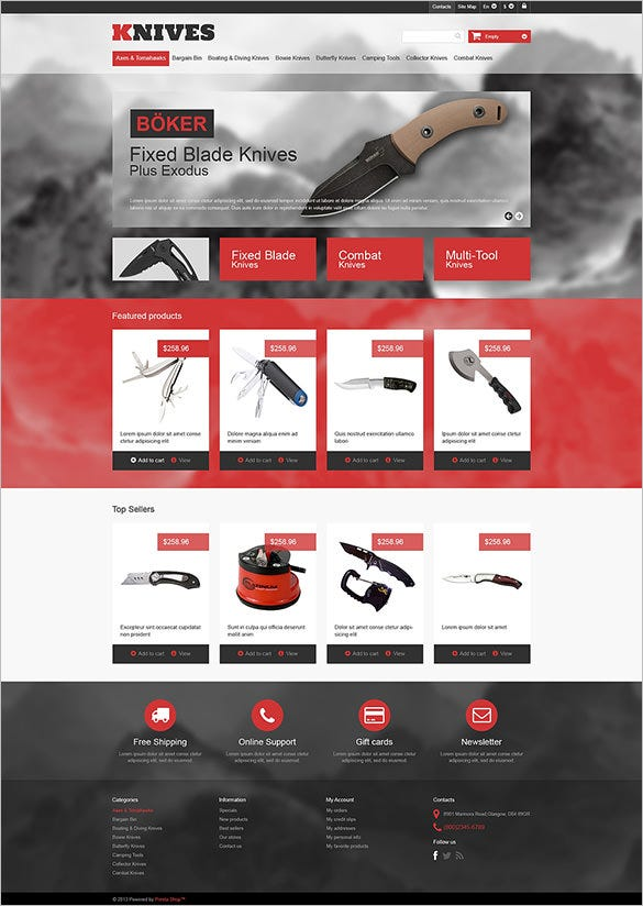 multipurpose knives wordpress theme